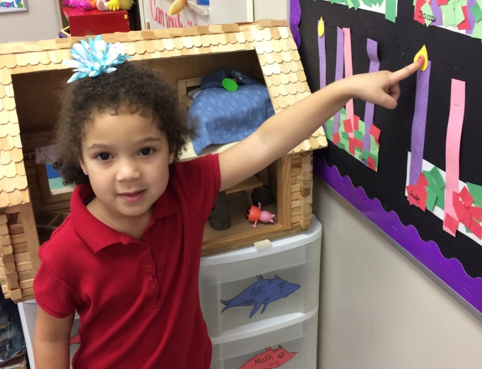 preschooler pointing to advent flame